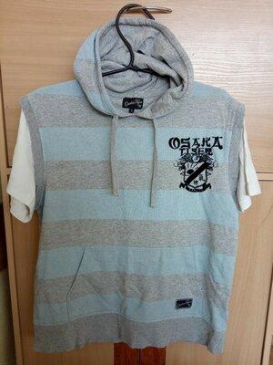 Стильная брендовая, полосатая футболка с капюшоном