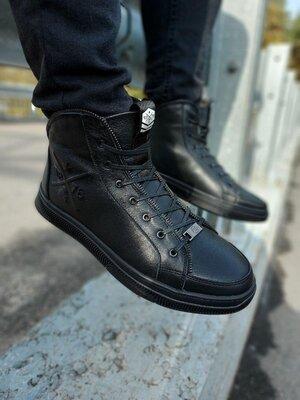 Фирменные кожаные зимние ботинки мужские теплые на меху стильные классные кроссовки кроссы кеды высо