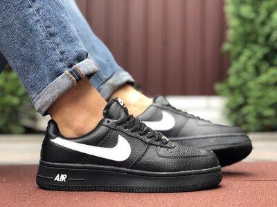 Зимние мужские кроссовки Найк Nike Air Force мех черные, р. 41-46, 005-9925