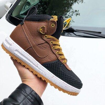 Высокие мужские кроссовки Nike Lunar Force коричневые, р. 41-46, 005-9918