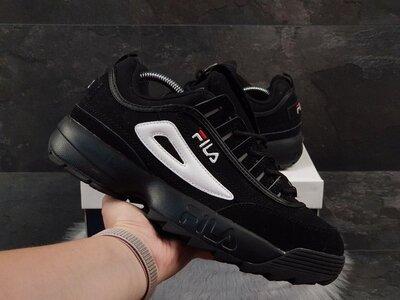 Стильные мужские кроссовки Фила Дисраптор Fila, черные, р. 41-45, 005-9842