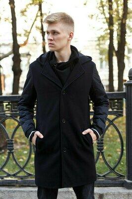 Мужское пальто демисезонное чёрное