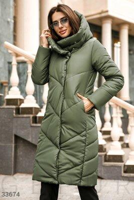 Скидка12%. Удлиненная куртка-пальто зеленого цвета. Скидка12%.