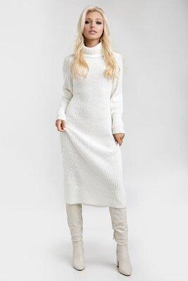 Теплое вязаное платье длиной миди 42-46, 48-52р.