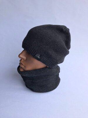 Теплые мужские комплекты шапка хомут
