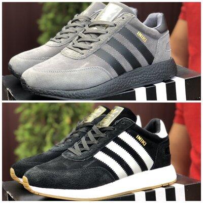 Зимние мужские кроссовки Adidas Iniki , серые и черные