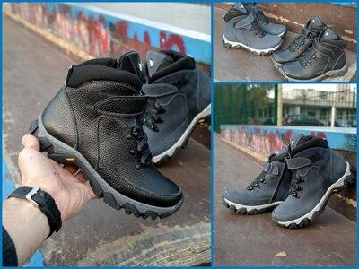 Подростковые кожаные зимние ботинки молния липучка Підліткові шкіряні зимові черевики блискавка липу