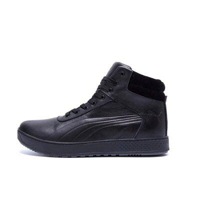 Мужские зимние кожаные ботинки Puma SUEDE Black leather
