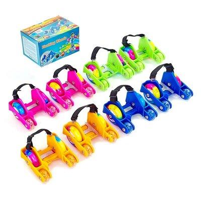 Ролики на кроссовки Flashing Wheel 6376 ролики на пятку 4 цвета, светятся колеса