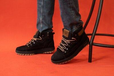 Мужские ботинки нубуковые зимние черные-нубук CrosSAV 322