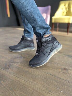 Мужские кроссовки кожаные зимние черные Splinter Б 1320
