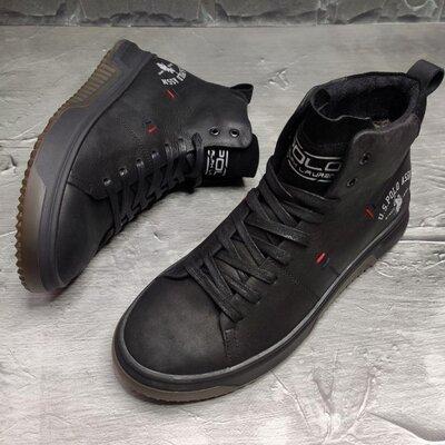 Классные топовые ботинки для мужчин осенние весенние демисезонные кожаные кроссовки кеды на меху