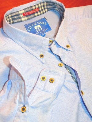 Шикарная голубая рубашка в принт - XL - L