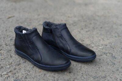 Мужские кожаные ботинки polbut темно-синие на меху