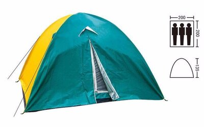 Продано: Палатка туристическая трехместная с тентом Shengyuan 029 2х2х1,35 м