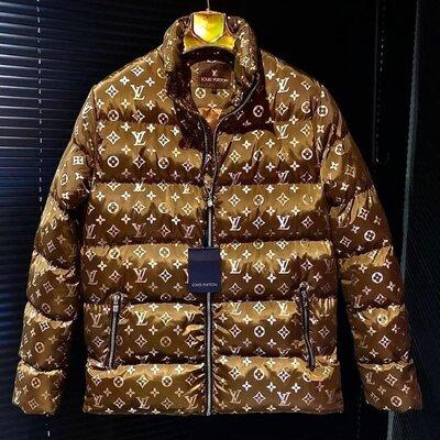 Мужская куртка пуховик Louis Vuitton коричневая
