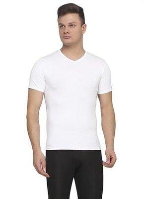 Мужская однотонная хлопковая белая футболка lans 12/005 lans