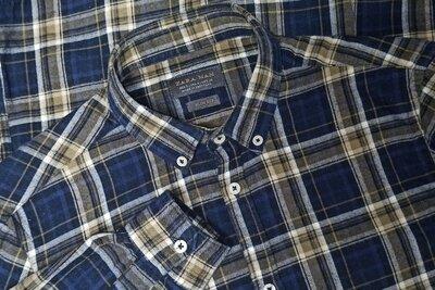 Рубашка zara с длинным рукавом, синяя клетка. размер s.