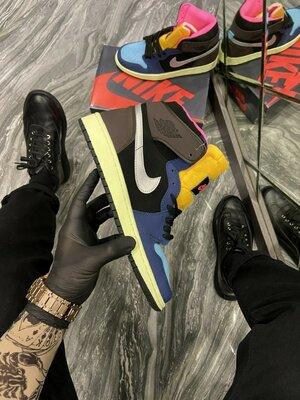 кроссовки Найк Эйр Джордан 1 черно-коричнево-синие Nike Air Jordan 1 Black/Brown/Blue