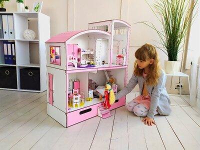 Домик для кукол Барби с мебелью и Боксом для игрушек. Будиночок для ляльки барбі. Новинка 2020 г