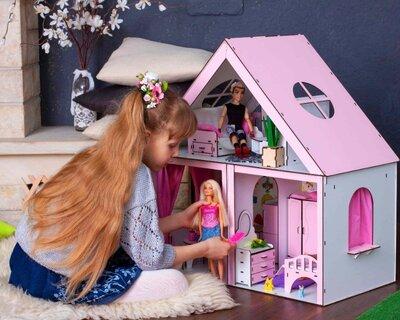 Очень крутой домик для кукол Барби с мебелью, высота 68 см. Будинок для ляльок