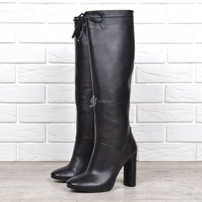 Сапоги женские кожаные на каблуке Dacota весна осень черные