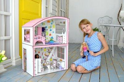 Домик для кукол Барби с мебелью и текстилем. Деревяний ляльковий будиночок Лол Омг