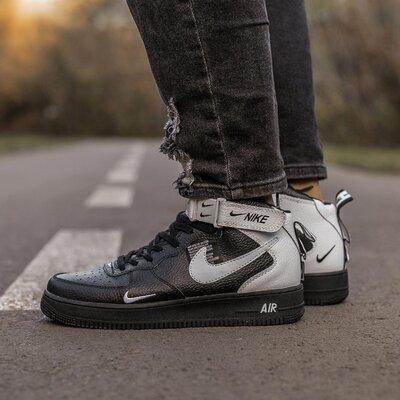 Кроссовки Nike Air Force Black White.Купить высокие черные найк недорого в Украине.