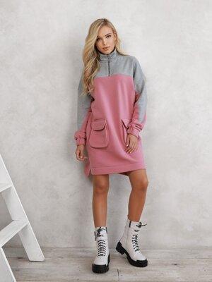 Теплое асимметричное платье с карманами, жіноче тепле плаття