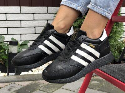 Зимние кроссовки на меху Adidas Iniki, черные ,кожа, мех
