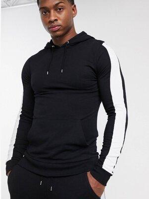 Стильный чёрный хлопковый худи свитшот реглан кенгуру с карманами asos