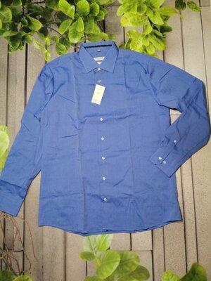 Классическая мужская рубашка синяя с длинным рукавом