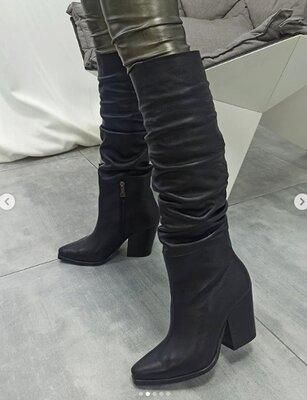 Дизайнерские кожаные сапоги-казаки 20102 ,р-ры 36-40,любой цвет