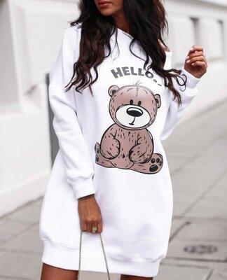Платье туника женское теплое с мишкой