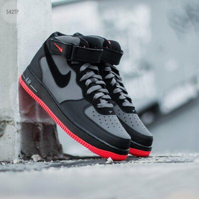 NIKE AIR FORCE 1 MID ´07 lava grey/ red black