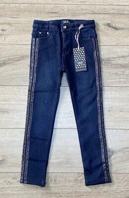 Стильные джинсы на флисе для девочек 9-10 лет в наличии