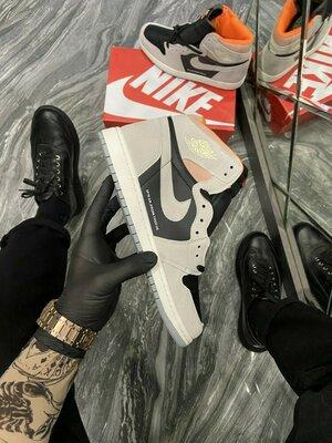 Кроссовки Найк Эйр Джордан 1 Сп 19 Серые с чёрным Nike Air Jordan 1 SP 19 Grey Blac
