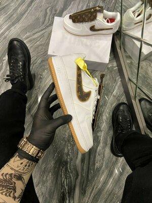 Кроссовки Найк Эйр Форс 1 Х Луи Витон белые Nike Air Force 1 Low x Louis Vuitton