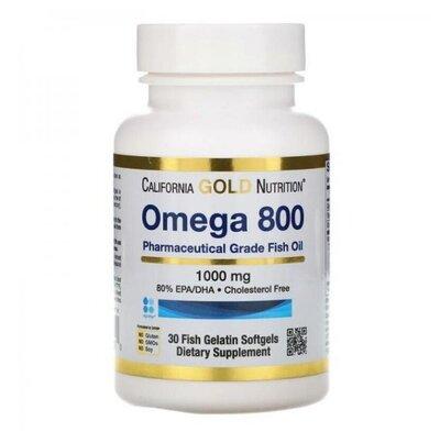 Омега 800 рыбий жир, Omega 800, California Gold Nutrition, 80% EPA/DHA, 1000 мг, 30 капсул