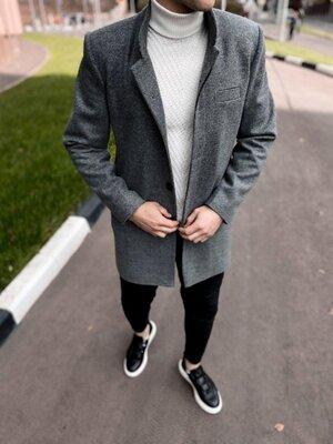 В наличии. Европейское качество. Мужское пальто тёмно-серое приталенное Plt13