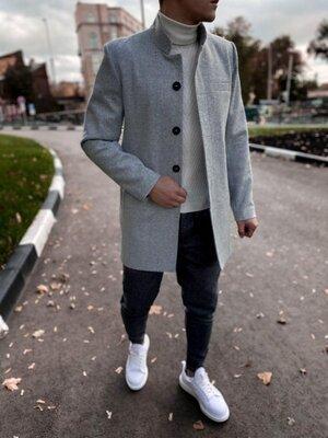 В наличии. Европейское качество. Мужское пальто светло-серое приталенное Plt12