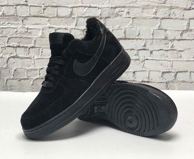 Зимние мужские кроссовки ботинки Nike Air Force Winter. Black. Натуральная замша с мехом