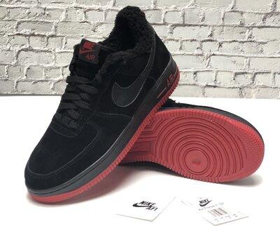Зимние мужские кроссовки ботинки Nike Air Force Winter. Black Red. Натуральная замша с мехом