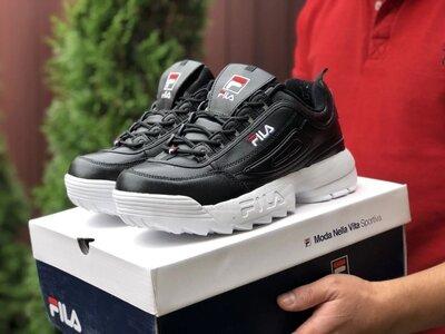 Мужские демисезонные кроссовки Fila Disruptor 2 black/white черно-белые