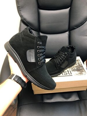 Vankristi зимние мужские ботинки натуральная замша черные 9966