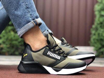 Мужские термо кроссовки Puma,темно зеленые