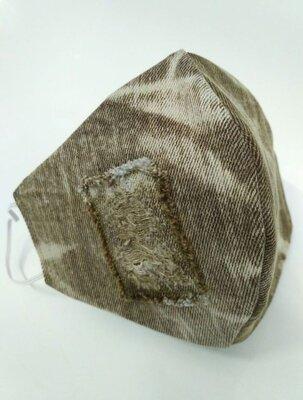 Маска дизайнерская латка защита захист носовой зажим коричневая коттон ткань Мв-48