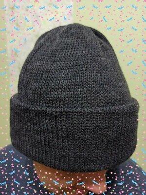 Шапка мужская двойная с отворотом. Теплая вязаная зимняя шапочка. Новые. цвет серый синий черный