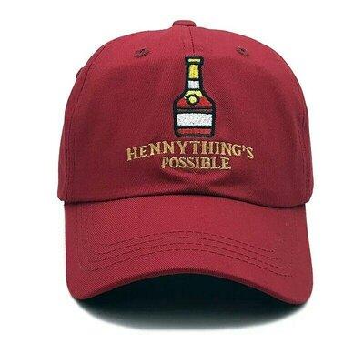 Стильная хлопковая бейсболка кепка с вышивкой hennything's possible бордовая унисекс