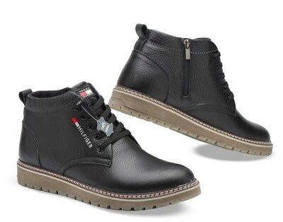 Зимние мужские ботинки, кожа, черные